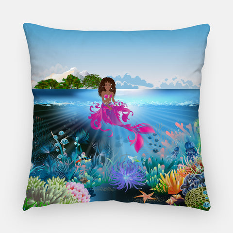 Black Mermaid Outdoor Pillow