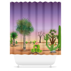 My Cacti Landscape (Purple Sky) Shower Curtain
