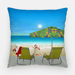 Beach Please Tropical Outdoor Christmas Pillow