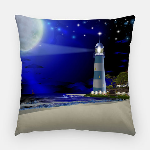 Lighthouse at Night Outdoor Pillow