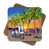 Blue Motor Scooter by the Beach Coaster Set