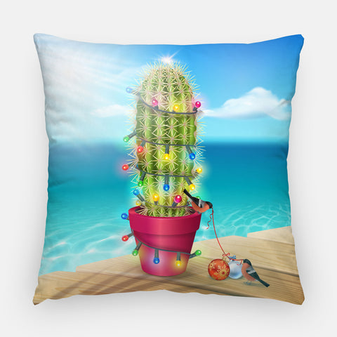 Cactus Holiday Tree Outdoor Christmas Pillow