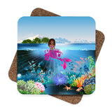 Brown Girl Mermaid Coasters