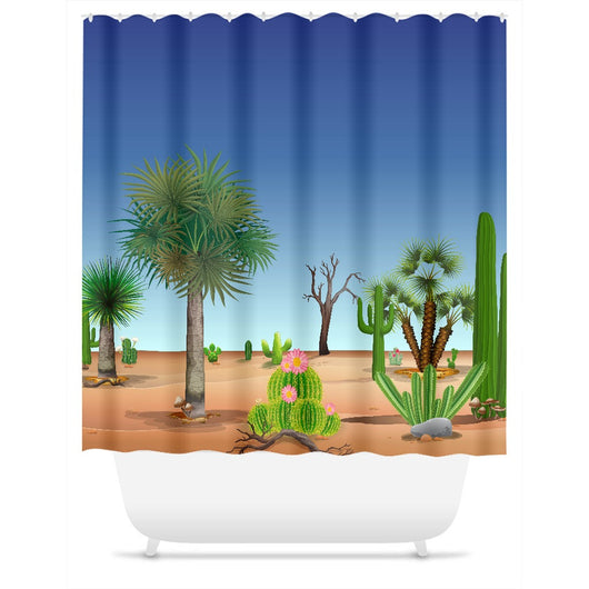 My Cacti Landscape (Blue & White Sky) Shower Curtain