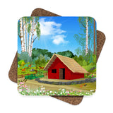 Red Barn Coaster Set