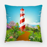 Lighthouse Cacti Garden Outdoor Pillow