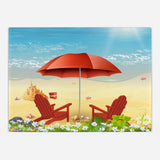 Red Beach Umbrella Glass Cutting Board