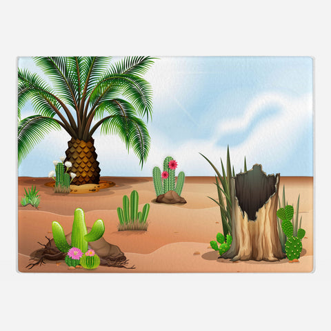 Cacti Garden Glass Cutting Board