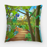 Blue Parrots Out Door Pillow