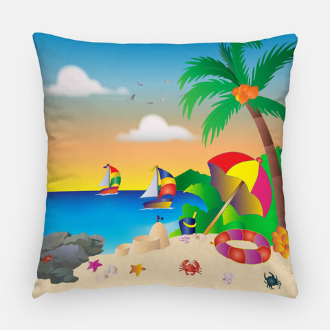 Sunset & boating Outdoor Pillow