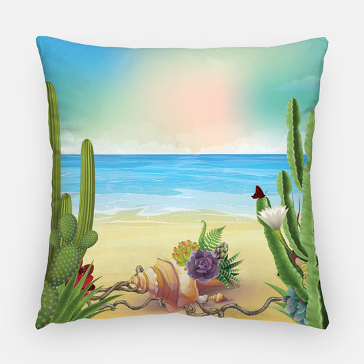 Succulents and Seashells Outdoor Pillow