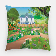 Succulent Landscape Outdoor Pillow