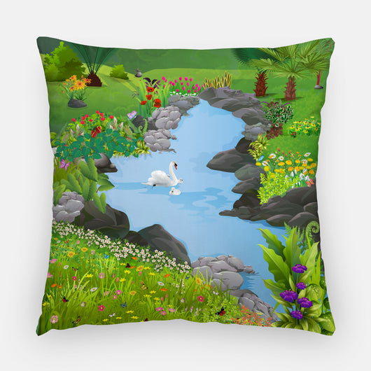 Swan Lake Outdoor Pillow