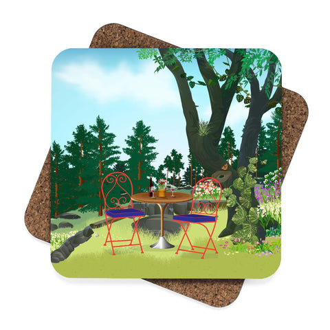 Drinking Wine in the Garden Coaster Set