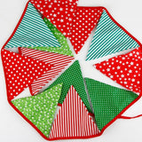 10.8 Feet / 3.3 M Triangle Pennant Flags Vintage Bunting Floral Cotton Banner Kit Pennant Garland For Wedding,Festivals,Nursery,Outdoor Pennant Hanging Decoration (Red Green) - G2plus