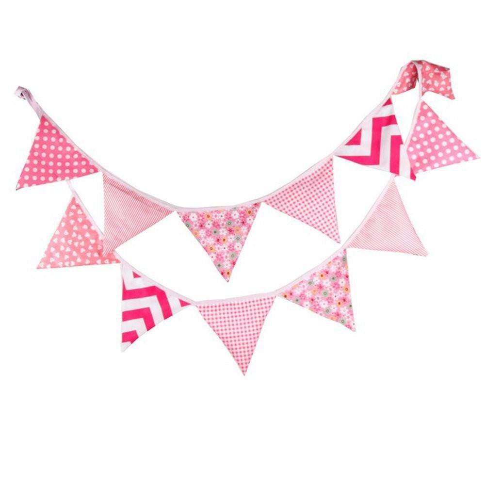 3.3 M Triangle Pennant Flags Vintage Bunting Floral Cotton Banner Kit Pennant Garland For Wedding,Festivals,Nursery,Outdoor Pennant Hanging Decoration (Pink) - G2plus