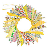 10M/32.8Feet Large Yellow Triangle Pennant Flags Double Sided Vintage Bunting Floral Cotton Banner Kit Pennant Garland For Wedding,Festivals,Nursery,Outdoor Pennant Hanging Decoration - G2plus