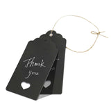 Valentine's Day 100 PCS Gift Kraft Tags Luggage Tags 4.5 cm * 9.5 cm Labels with 30 Meters Jute Twine (Black) - G2plus