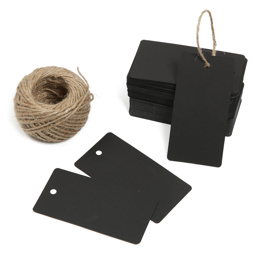 G2PLUS Gift Kraft Paper Tags 100 PCS Luggage Tags Labels 4.5 cm * 9 cm Labels with 30 Meters Jute Twine (Black) - G2plus