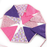 3.3 M Triangle Pennant Flags Vintage Bunting Floral Cotton Banner Kit Pennant Garland For Wedding,Festivals,Nursery,Outdoor Pennant Hanging Decoration (Purple) - G2plus