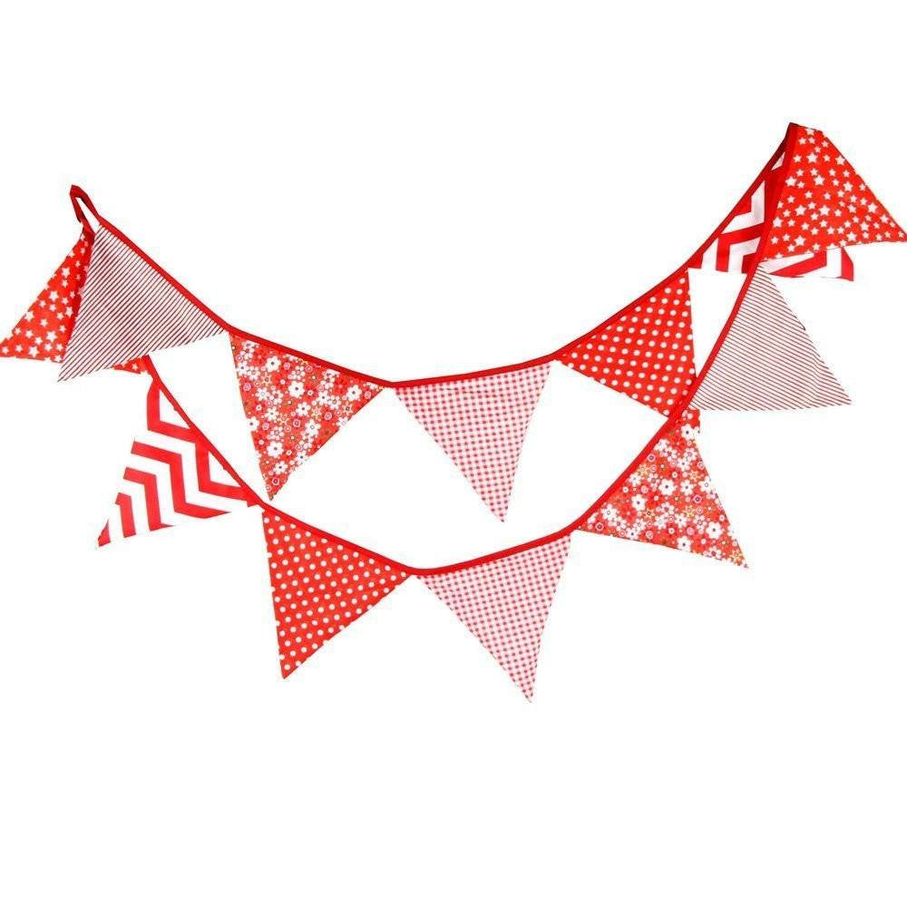 3.3 M Triangle Pennant Flags Vintage Bunting Floral Cotton Banner Kit Pennant Garland For Wedding,Festivals,Nursery,Outdoor Pennant Hanging Decoration (Red) - G2plus