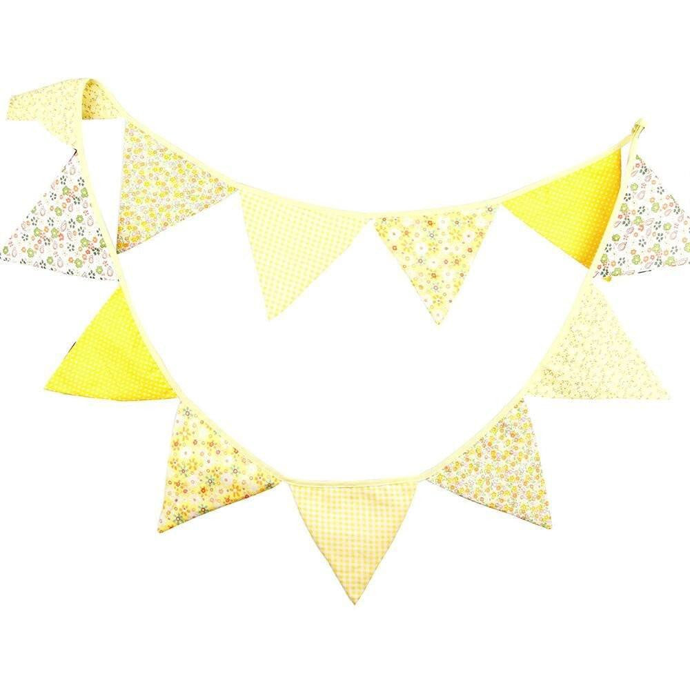 3.3M Triangle Pennant Flags Vintage Bunting Floral Cotton Banner Kit Pennant Garland For Wedding,Festivals,Nursery,Outdoor Pennant Hanging Decoration (Yellow) - G2plus