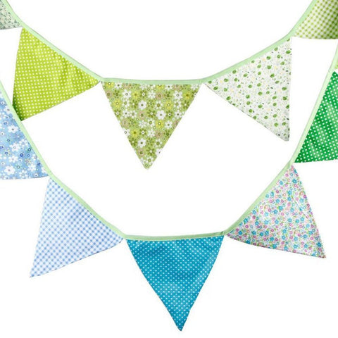 3.3 M Triangle Pennant Flags Vintage Bunting Floral Cotton Banner Kit Pennant Garland For Wedding,Festivals,Nursery,Outdoor Pennant Hanging Decoration (Blue Green) - G2plus