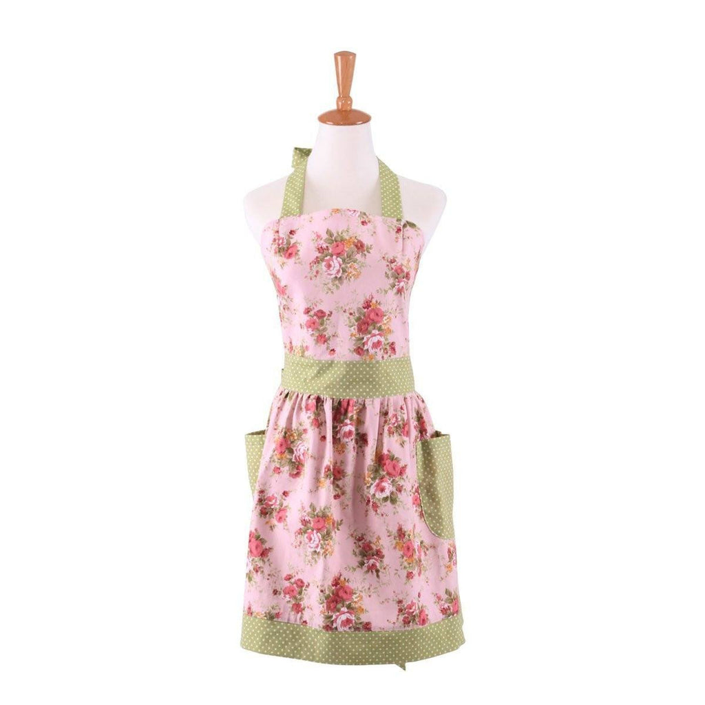 Cotton Canvas Pink Floral Gardening Apron For Women Cooking Baking Apron  With Pockets Great Gift For