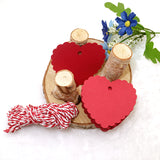 Valentine's Day Kraft Gift Tags, 100 PCS Heart Shaped Blank Labels, 5.5 cm * 6 cm Paper Wedding Hang Tag with 30 Meters Jute Twine (Red) - G2plus
