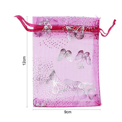 "Organza Bags, G2PLUS 100PCS 9X12CM (3.54X4.72"") Drawstring Organza Jewelry Favor Pouches Wedding Party Festival Gift Bags Candy Bags (Rose Butterfly Floral Print Pattern) - G2plus"