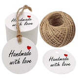 "100 PCS Kraft Gift Tags 5 cm * 5 cm""Hand Made with Love"" Label Birthday Luggage Round Tags Paper Wedding Labels Brown Hang Tag with 30 Meters Jute Twine (White) - G2plus"
