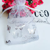 "Organza Bags, G2PLUS 100PCS 9X12CM (3.54X4.72"") Drawstring Organza Jewelry Favor Pouches Wedding Party Festival Gift Bags Candy Bags (White Butterfly Floral Print Pattern) - G2plus"