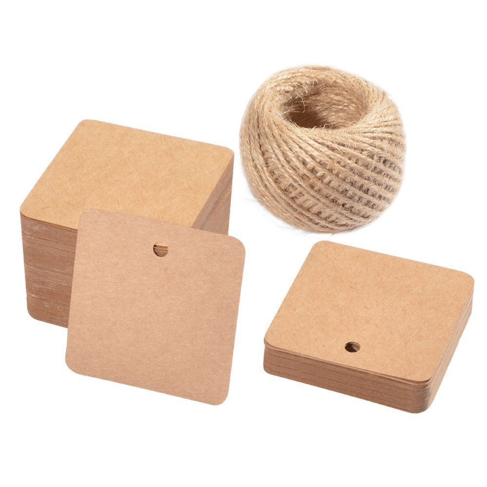 100 PCS Square Hang Tags with String, Kraft Paper Blank Gift Tags with 100 Feet Natural Jute Twine - G2plus