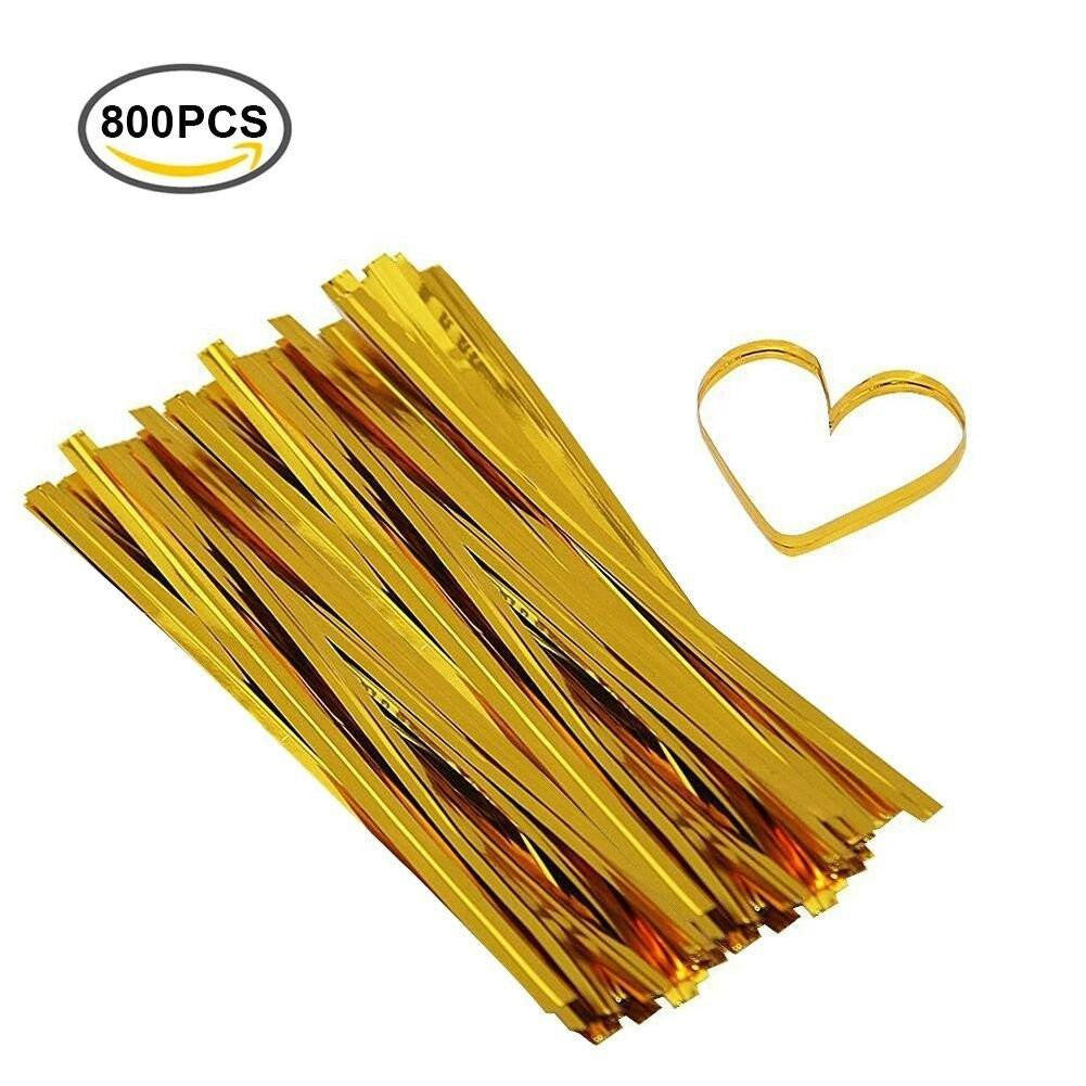 800 PCS 6'' Metallic Twist Ties for Party Favors Bakery Cello Candy Cookie Treat Bags (Gold) - G2plus
