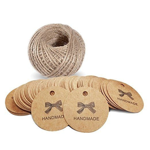 100 PCS 'Handmade' Printed Kraft Paper Hang Tags Craft Gift Tags with 100 Feet Jute Twine - G2plus