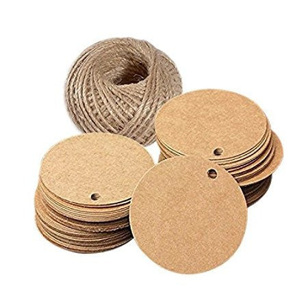 Brown Gift Tags, G2PLUS Kraft Paper Gift Tag with 100 Feet Jute Twine, Round Shaped Blank Hang Tags for Craft Projects, Xmas Gifts (Brown Circle Tags) - G2plus