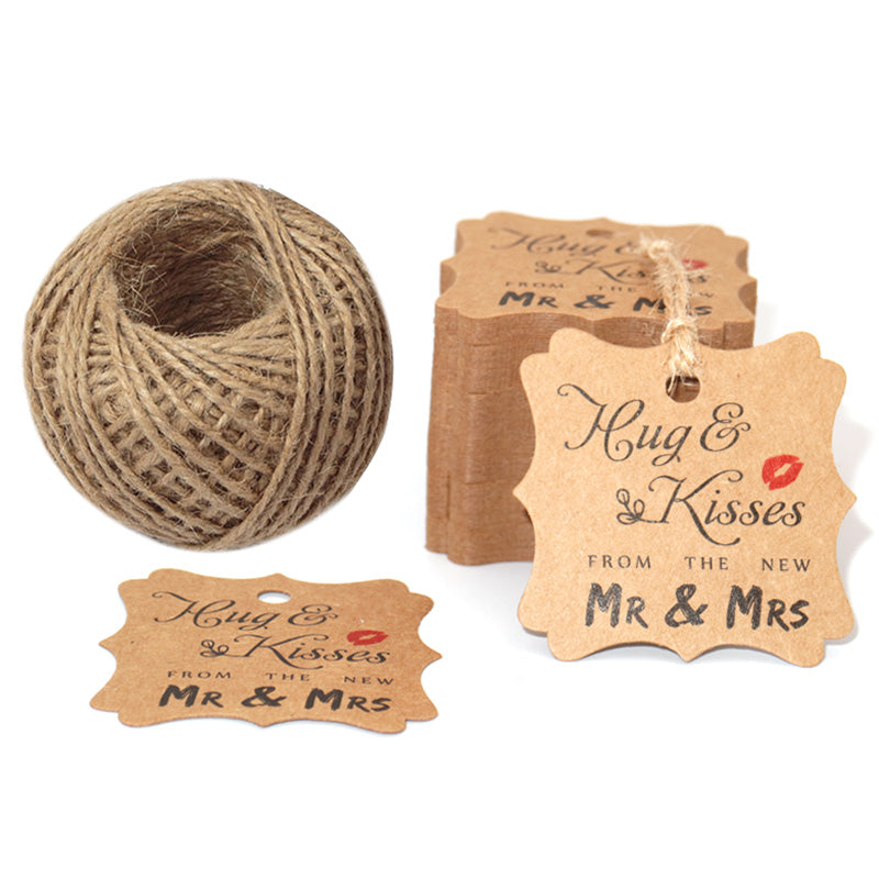Original Design Wedding Favor Gift Tags, 100 PCS Brown Square Tags with 100 Feet Natural Jute Twine Perfect for Bridal Baby Shower Anniversary- Hug & Kisses from the New Mr & Mrs - G2plus