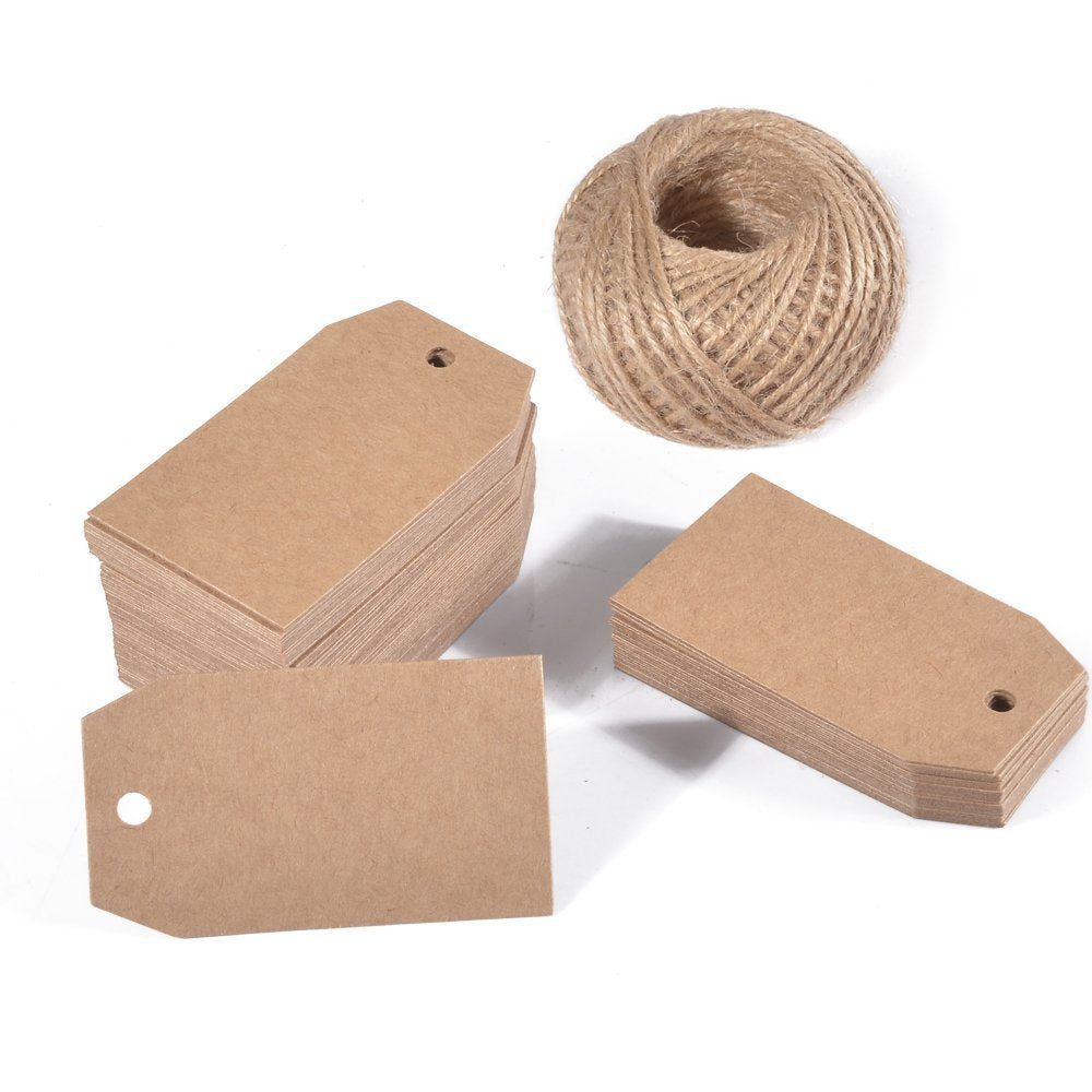 100 PCS Kraft Gift Tags 4 CM * 7 CM Blank Label Paper Wedding Labels Birthday Luggage Tags Brown Hang Tag with 30 Meters Jute Twine - G2plus