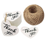 "Valentine Gift Tags,100 PCS Thank You Tags 2.6"" X 2"" Kraft Paper Gift Tags with 100 Feet Natural Jute Twine Perfect for Valentine's Day,Baby Shower,Wedding Party Favor - G2plus"