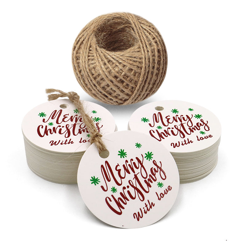 "Original Design Christmas Gift Tags,1.97""Round Christmas Tags 100 Kraft Paper Tag with 100 Feet String Perfect for Christmas Gift Wraps,Christmas Party Decoration - G2plus"