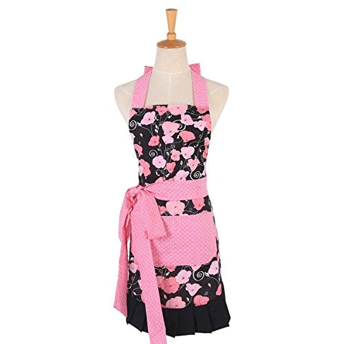 Cotton Apron for Women with Pockets, Extra Long Ties Floral Apron Perfect for Kitchen Cooking, Baking and Gardening, 29 x 21 - inch