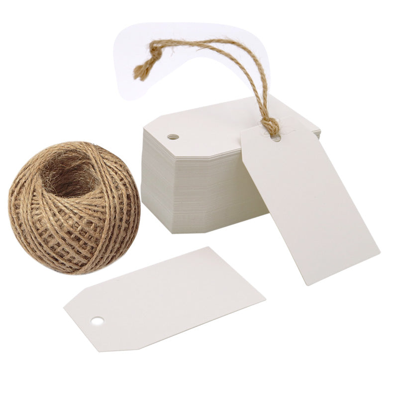 Christmas 100 PCS Kraft Gift Tags 4 cm * 7 cm Blank Label Paper Wedding Labels Birthday Luggage Tags Brown Hang Tag with 30 Meters Jute Twine - G2plus