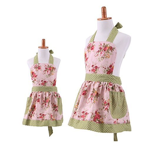 Lovely Classic Style Pink Floral Parent-Child Apron Women's Cooking or Baking Apron with 2 Pockets Mama & Kid Girl Apron Great Gift For Wife Daughters Ladies