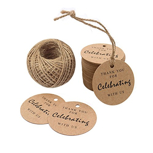 Thank You for Celebrating with Us,Original Design Paper Gift Tag, 100 PCS Kraft Tags with 100 Feet String for Wedding, Baby Shower, Party Favor (Brown) - G2plus