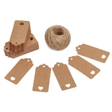 Valentine's Day Gift Kraft Paper Tags 100 PCS Luggage Tags Labels 4.5 cm * 9.5 cm Labels with 30 Meters Jute Twine (Brown) - G2plus