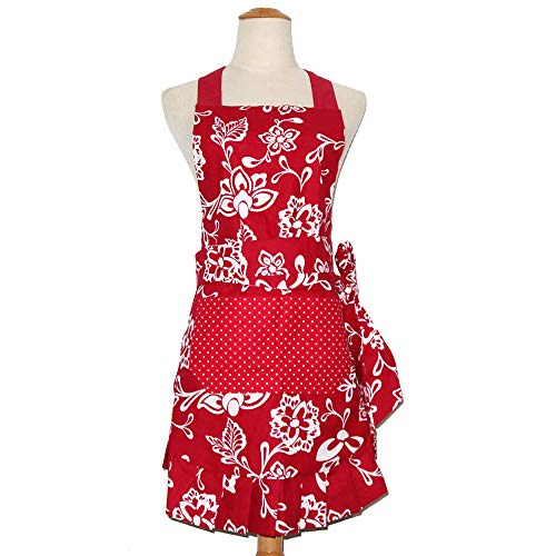 Mothers Aprons for Women with Pockets, Extra Long Ties,Floral Apron, Perfect for Kitchen Cooking, Baking and Gardening, 29 x 21-inch