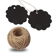 Black Gift Tags, G2PLUS 100PCS Paper Gift Tags with String, Gift Hang Tags, Bonbonniere Favor Gift Tag with Jute Twine 30 Meters Long for Crafts Projects & Price Tags (Black) - G2plus