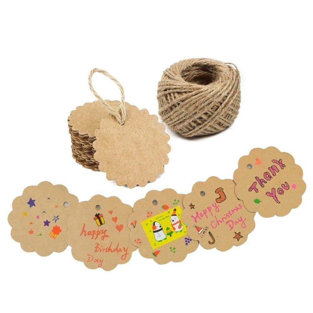 G2PLUS 100PCS Kraft Paper Gift Tags Wedding Brown Kraft Hang Tag Bonbonniere Favor Gift Tags with Jute Twine 30 Meters Long for Crafts & Price Tags (Flower Side-Brown) - G2plus