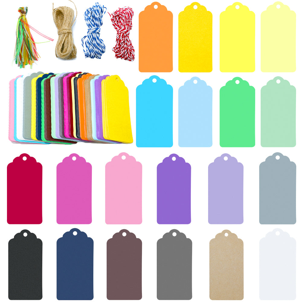 200PCS Colorful Gift Tags, 20 Colors 9 cm * 4.5CM Blank Paper Labels with 4PCS Strings for Wedding Birthday - G2plus