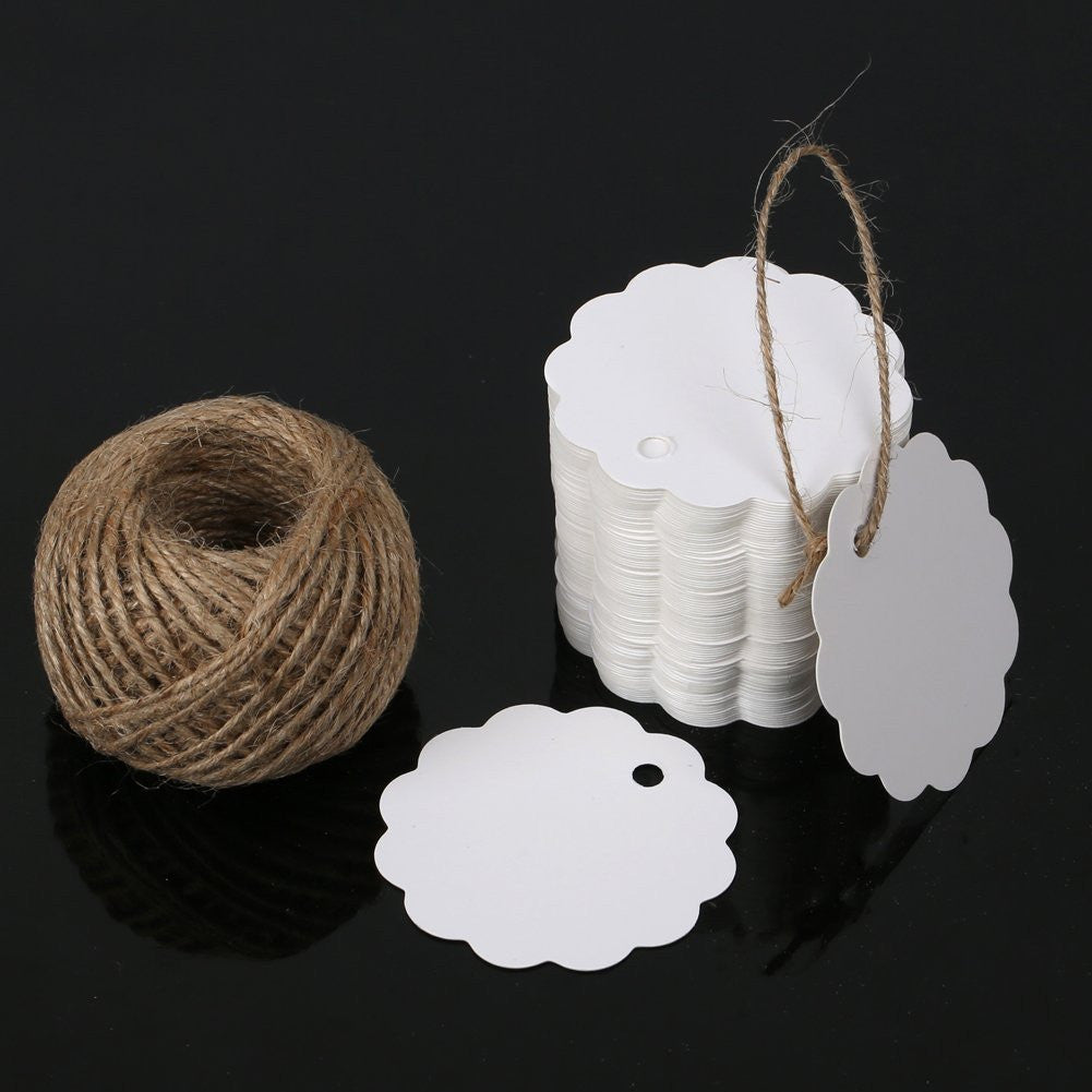G2PLUS 100PCS White Paper Gift Tags with String, Wedding Party Favor Tags, Bonbonniere Favor Gift Tag with Jute Twine 30 Meters Long for Crafts & Price Tags Labels (Flower Side-White) - G2plus